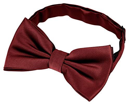 Helido Helido Fliege für Herren, 100% Seide, schwarze, bordeaux-rote u. dunkelblaue Schleifen passend zu Hemd und Anzug oder Smoking + Geschenkbox (Bordeaux)
