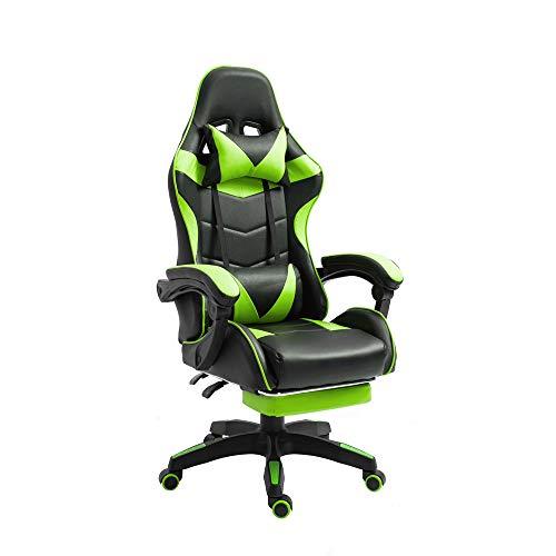 TTT Silla de Oficina PC Gaming Videojuegos Racing Escritorio Sillon Gamer Despacho, Negro-Verde, Universal