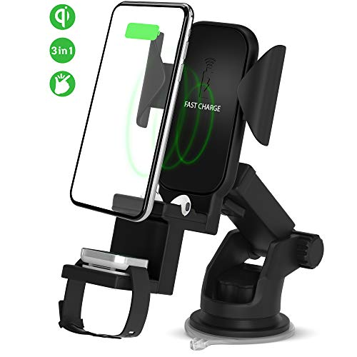 Wireless Qi Car Charger Holder-EVK 3 in 1 Fast Wireless Car Charging Vent Mount-Best Wireless Charging Car Phone Holder-Automatic Clamping Wireless Car Charger Mount for iPhone Airpods Apple Watch