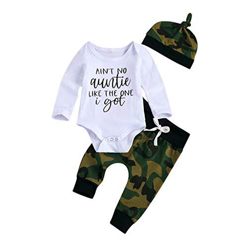 YQYJA Conjunto de 3 piezas de recién nacidos de manga corta y larga con estampado de letras de camuflaje, pantalones con nudo superior, juego de 3 piezas