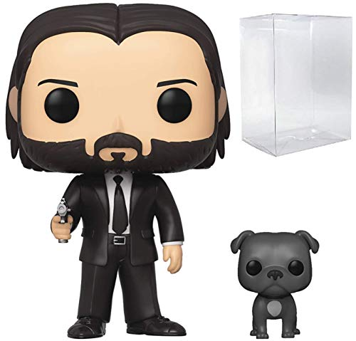 Funko Pop Movies: John Wick Chapter 3 - John in Black Suit with Dog Buddy Vinyl Figure (Includes Compatible Pop Box Protector Case)