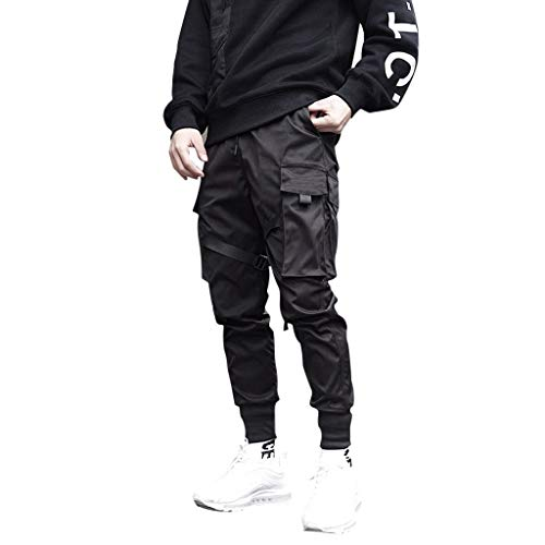 Qmber Herren Cargo Hose Jogging Pants Chino Casual Retro Trends Seitentaschenhose Schwarz Mens Frühlings Herbst Mode Retro Normallack Mehrfachtaschen Lange Hosen/Schwarz,XL