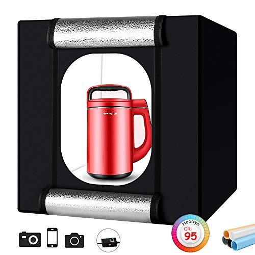 Foto Zelte, Heorryn 60 x 60 x 60cm Faltbare Fotostudio Lichtzelt Kit mit 192 Dimmbare LED-Beleuchtung und 5 Farbhintergründen für die Fotografie