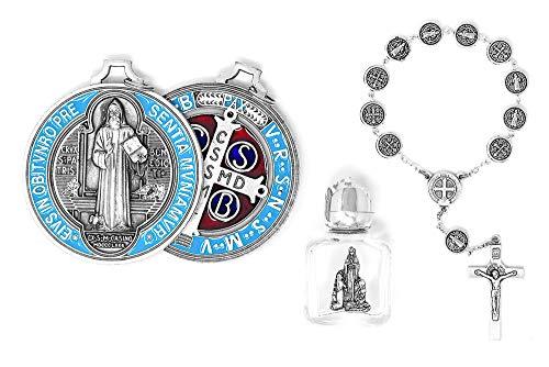 St. Benedikt katholisches Geschenkset, große Medaille, Heiliger Benedikt, EIN Jahrzehnt, Rosenkranz mit Silbermedaillen, Flasche mit Lourdes Wasser
