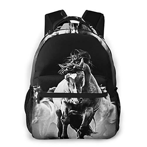 Laptop Rucksack Schulrucksack Mustang Wildpferde, 14 Zoll Reise Daypack Wasserdicht für Arbeit Business Schule Männer Frauen
