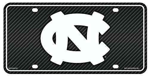 Rico Industries North Carolina UNC Tar Heels NCAA Carbon Fiber Design Metal Auto Tag License Plate