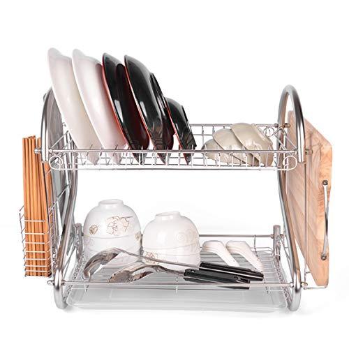 2-laags Keuken Schotel Wastafel Kop Bestek Afdruiprek Rek Houder Zilver Deluxe Met Bordenhouder En Afdruiprek