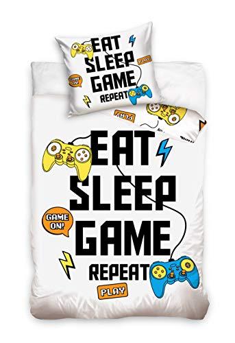 Carbotex Juego de cama de gamepad, funda nórdica de 140 x 200 cm y 70 x 90 cm, doble cara, 100% algodón, con cierre