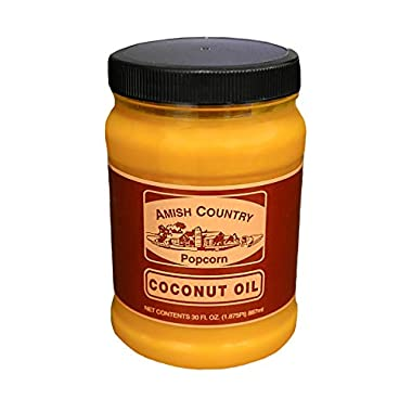 Amish Country Popcorn   Coconut Oil – 30 oz   Vegan, Tree Nut and Peanut Free   Old Fashioned with Recipe Guide