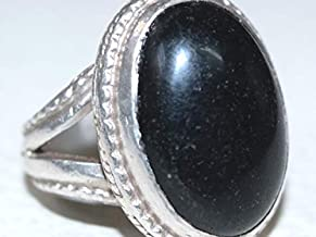 925 sterling silver men ring natural black agate stone عقيق يماني اسود طبيعي