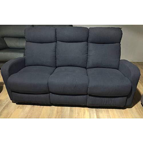 Sofá de Tres plazas con 2 Relax Manual Modelo Fredy Color Gris.