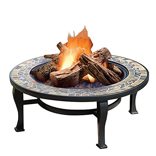 Wood Fire Pits Outdoor Garden Wood-burning Fire Bowl, Outdoor Wrought Iron Fireplace, Brazier Fireplace, With Poker Grill Net Cover (Color : Kit-3)