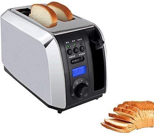 YXZQ Brotbackautomat mit 2 Scheiben Toaster, digitaler Timer, elektrischer Toaster, Brotbackautomat aus Edelstahl, mit Aufwärmen, Auftauen