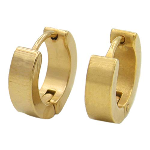 XIANGAI Elegant 1 Pair Cool Men's Stainless Steel Hoop Earring 4 Colors Available,Colour Name:Black (Color : Gold)