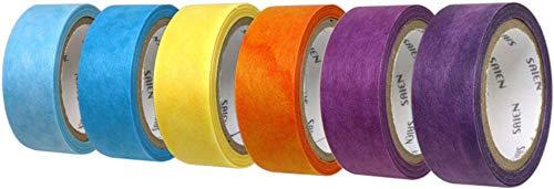 カミイソ 日本 製 和紙 マスキング テープ saien ちぎる 絵 シリーズ 6 色 セット そら 幅 15 mm 7 m 巻 6 色 デザイン テープ リメイク アレンジ
