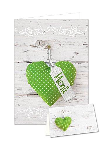 Logbuch-Verlag DIY tafeldecoratie set voor 25-30 gasten: lichtgroen wit gestippeld hart hout-look: 32 tafelkaarten + 12 menukaarten voor bruiloft, communie, verjaardag, om zelf te maken