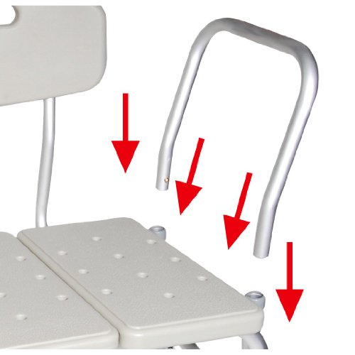 Bathtub Transfer Bench With ADJUSTABLE BACKREST. Weight Capacity 400 Pounds. Reversible To Accommodate Any Bathroom. Tool Free Assembly. Bath Bench Made Of Aluminum And Plastic.