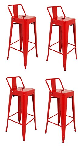 La Chaise Espagnole - Lot de 4 Tabourets de style Tolix avec dossier, Rouge, 94x44,5x44,5