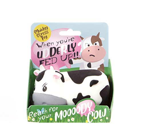 Boxer Gifts Moody Cow Stress Relief Toy | Helps with Anxiety | Novelty Desk Accessory | Funny Birthday Christmas Secret Santa Stocking Filler Gift for Her