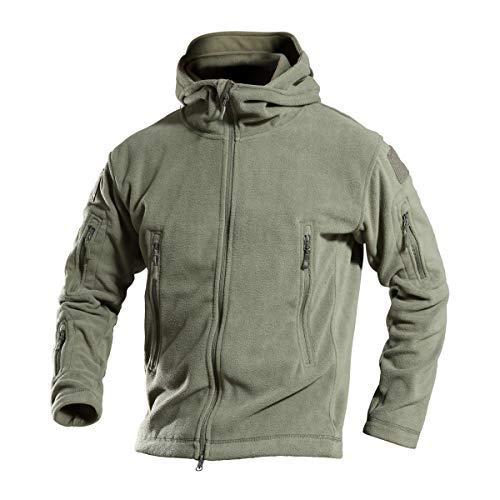 ZAPZEAL Männer Warm Mountain Tactical Fleece Jacke Herren Outdoor Kampf Hoodie Herren Militär Full Zip (grün, Größe L)