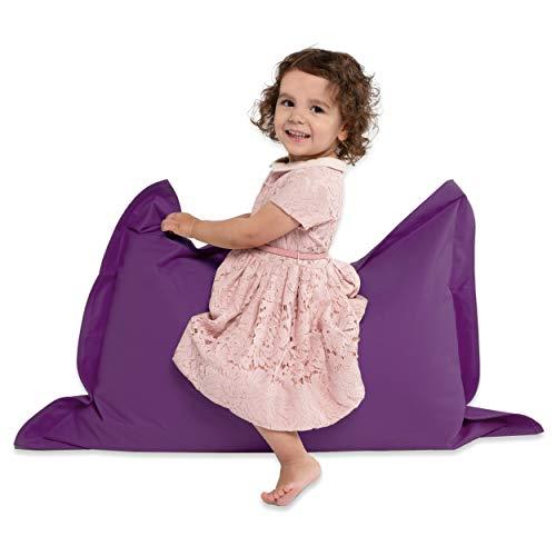 Green Bean © BeBi Mini Sitzsack 100x70 cm - 70 Liter EPS Perlen Füllung - PVC Bezug - Indoor & Outdoor Beanbag für Kinder - Sitzkissen Bean Bag Bodenkissen - Kindersitzsack Stuhl - Lila