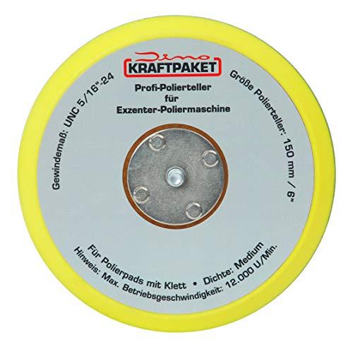 Dino KRAFTPAKET 640223 150mm-Stützteller-5/16-24 mit Klett Polierteller für Exzenter Poliermaschine 600W-8mm, 650W-9mm Hub, Gelb