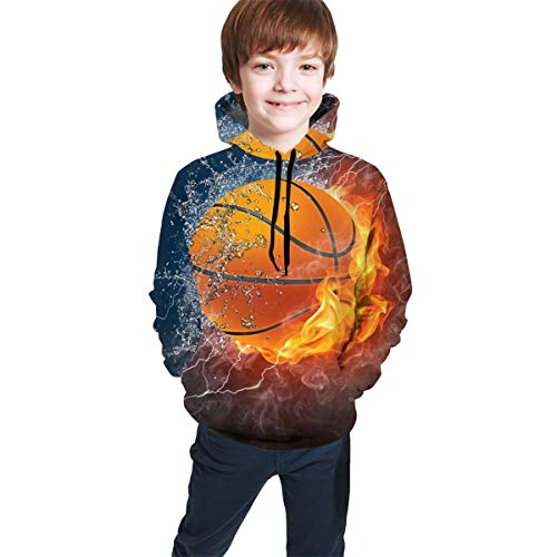 YongColer Casual Pullover Hooded Sweatshirts for Teen Girls Boys, Drawstring Water Fire Flame Basketball Print Black Hoodie Fitted 3D Pattern Print Top Blouse