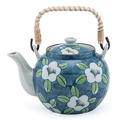 Japanese Style Porcelain White Cherry Blossom Design Blue Ceramic Dobin Teapot with Rattan Handle 38 fl oz Teapot with Stainless Steel Infuser Strainer for Loose Leaf Tea (Tea Pot)