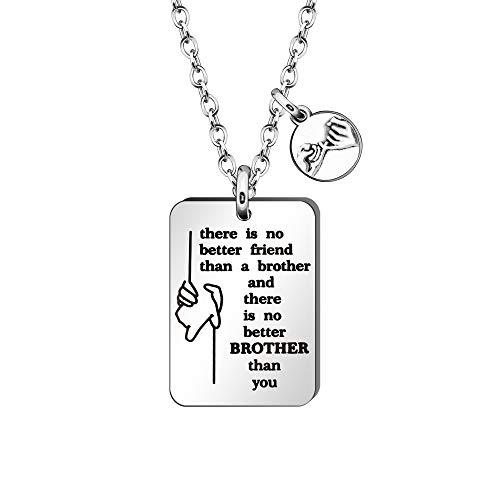 HEYEJET Collar para hermano con texto en inglés 'There is No Better Friend Than a Brother', regalo de Hermana Hermana Hermana - Collar con etiqueta de perro para mejores amigos y familiares.