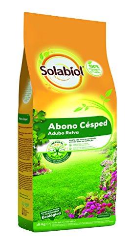 Solabiol Abono Cesped - Abono equilibrado para cesped con materias primas de origen 100% natural y estimulante Natural Booster. Formato 15kg