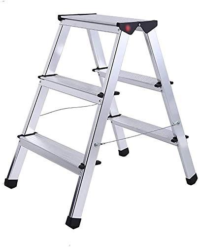 YZH Escalera ligera y portátil de 3 escalones de aleación de aluminio gruesa escalera plegable, para el hogar al aire libre multifunción doble escalón escalera taburete