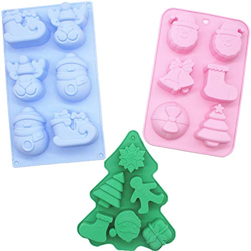 3 Pack Christmas Silicone Molds Non-Stick Chocolate Jelly Cake Baking mold for Party Xmas Gift Handmade Soap Molds with Shape of Christmas tree Elk Socks Bells Gift Snowman Sleigh Santa Claus …