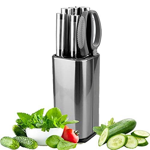 Edelstahl Messerblock, Delmkin Universal Messerblock Messerhalter für Raum sparen Messer stellen, Quadratischer, Silber