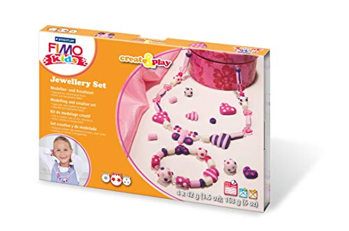 Staedtler 8033 01 Fimo kids create&play Set Jewellery ofenhärtend, Schmuckset mit 4 Blöcken, Anleitung, Perlen, Modellierstab und Kordel, Schwierigkeitsgrad 2
