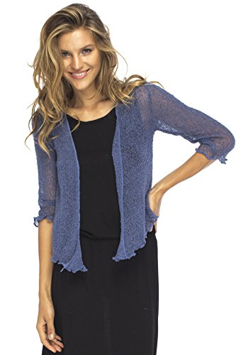 Back From Bali Womens Lightweight Knit Cardigan Shrug Lite Sheer Blue Jean