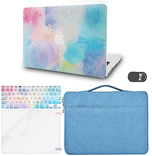 KECC Laptop Case Compatible with MacBook Air 13' w/Keyboard Cover + Sleeve Bag+ Screen Protector + Webcam Cover Plastic Hard Shell Case A1466/A1369 (Rainbow Mist 2)