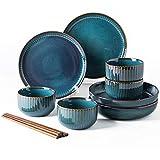 XLNB Steingut Geschirr Set, Modern Teller Set,Keramik Tafelservice Speiseteller, Vintage Geschirr Bunt,fine Porcelain Crockery, Blue Dinner Plates, Deep Soup Plates,Service for 4 (12pcs)