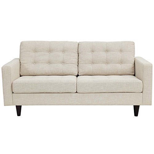 Modway Empress Mid-Century Modern Upholstered Fabric Loveseat In Beige