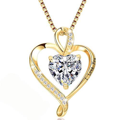 Collar de Mujer Amor Colgante de Corazón Oro Rosa Plata de Ley 925 Collares de Mujer,Joyas Regalos para Esposa, Mamá, Novia, Cumpleaños Navidad Aniversario día de San Valentín Regalo