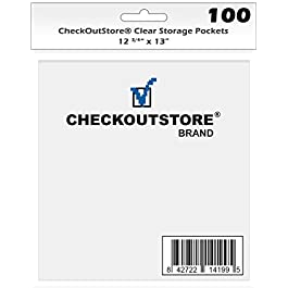 (100) CheckOutStore Clear Storage Pockets for Storing 12 x 12 Cardstock Paper Used for Rubber Stamping & Scrapbooking…
