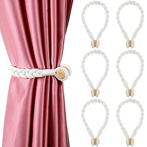 Jetec 6 Pieces Magnetic Curtain Hand-Woven Tiebacks Soft Linen Tieback Holdback Home Decorative Tie Backs with Durable Wooden Buckle for Home Office Decor, White