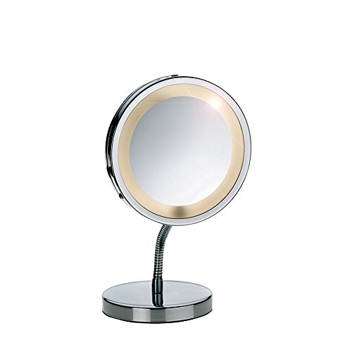 Kela 21496 Standspiegel, 1-/3-fach Vergrößerung, mit Beleuchtung, Ø 15cm, Metall, Lola, Verchromt
