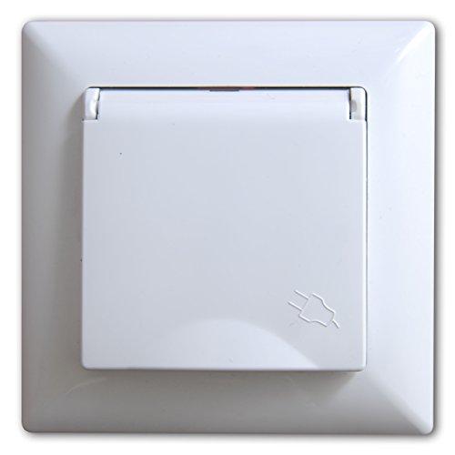 Visage Steckdose mit Deckel Unterputz Weiss, Praktisches Steckklemmen-System - Kabelanschluss ohne Schrauben