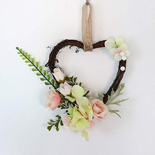 WHL Hängender Kranz Herz Rattan Künstliche Kranz Tür hängend Simulation Ewige Blume Pflanze Hochzeit Anhänger Garland Dekoration Heimtextilien (Color : B)