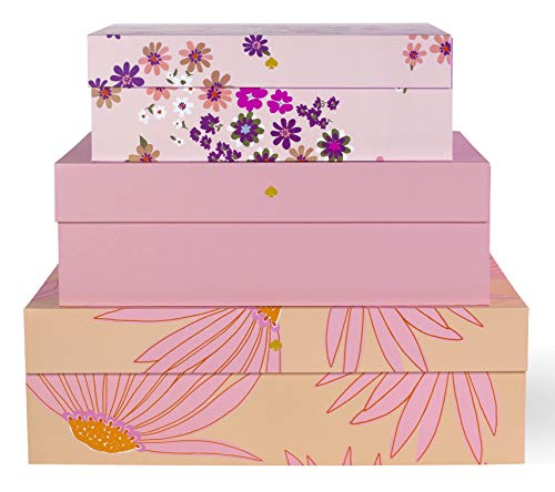 Kate Spade New York Decorative Storage Boxes with Lids, 3 Pack Sturdy Organizer Storage Bins, Includes Small Medium Large Pink Nesting Boxes with Magnetic Closure, Falling Flower