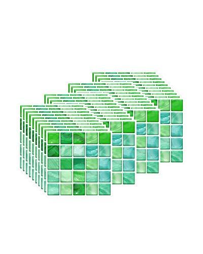 FBBULES 40 Piezas Pegatinas de Baldosas Calor Impermeable Papel Vinilo Adhesivo Pegatinas de Pared Decorativos para Sala Cocina Mosaico Verde (10 x 10 cm / 4 x 4 Pulgadas)