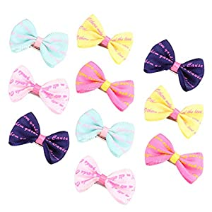 Balacoo 10pcs Pet Hair Bows with Alligator Clips Small Dogs Bowknot Hair Clip Cat Puppy Kitten Barrettes for Pet Grooming Hair Accessories (Random Color)