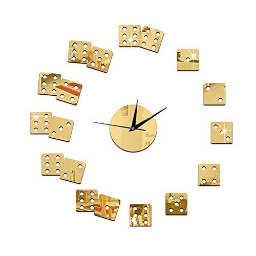 guyuell 3D Acrylique Miroir Horloge Dés Wall Sticker Grand Horloge Murale Designer Salon Bar Décor Moderne Design Montre