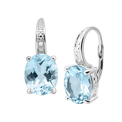 Natural Swiss Blue Topaz Drop Earrings with Diamonds in Sterling Silver