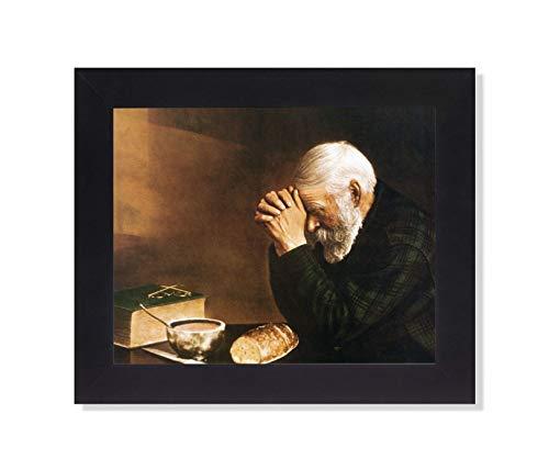 Daily Bread Man Praying at Dinner Table Grace Religious Framed Art Print 8x10
